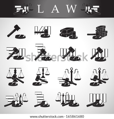 Law Icons Set - Isolated On Gray Background - Vector Illustration, Graphic Design Editable For Your Design. - stock vector