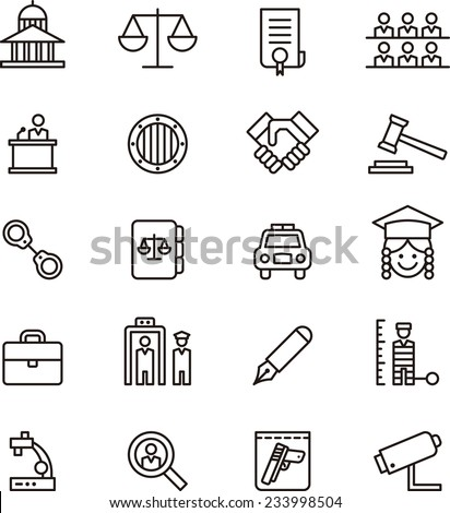 Law & Justice icon set - stock vector