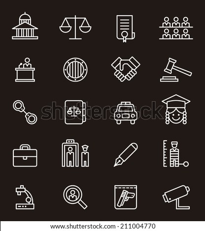 Law & Justice icons - stock vector