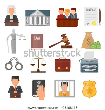 Law justice legal court lawyer judgment judge gavel symbol vector. Courtroom law justice and balance verdict law justice. Attorney legislation courthouse punishment concept judgement. - stock vector