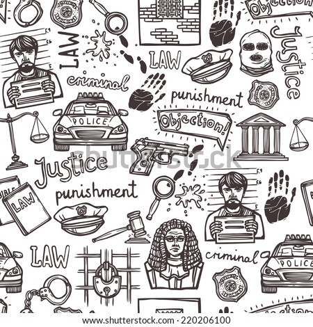 Law justice police and criminal icons sketch seamless pattern vector illustration - stock vector