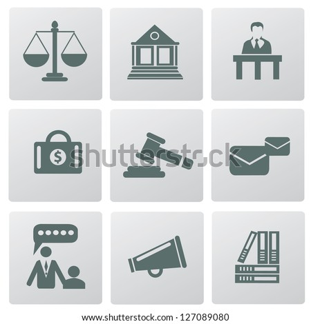 Law, legal and justice related symbols,vector - stock vector