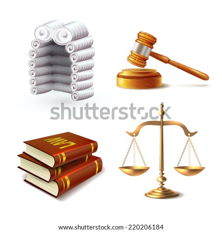 Law legal justice icons set with judge wig gavel books and scales isolated vector illustration - stock vector