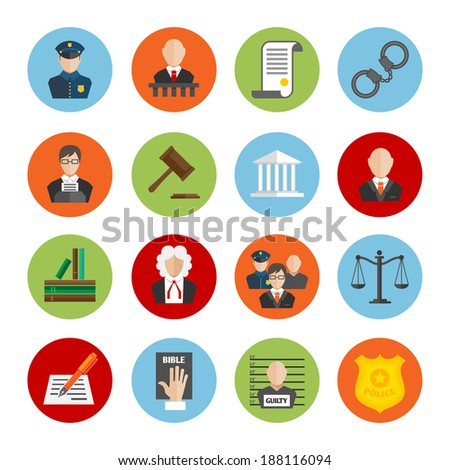 Law legal justice judge and legislation flat icons set isolated vector illustration - stock vector