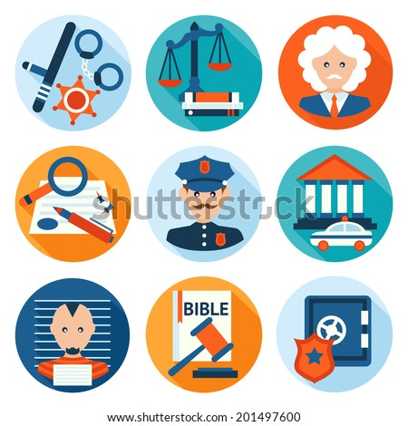 Law legal justice police investigation and legislation flat icons set isolated vector illustration. - stock vector