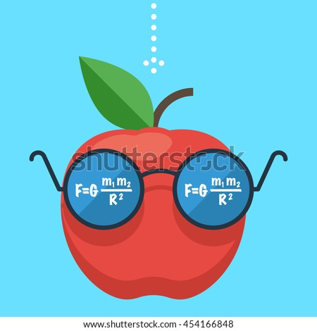 Law of gravity. Apple flies down. The formula is reflected in the glasses, the science of physics. Gravity concept. Flat design vector illustration - stock vector