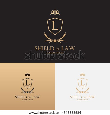 Law office logo with shield. Concept of logo of lawyer with floral ornament. Law logo. - stock vector