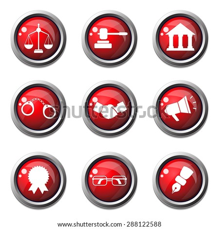 Law Sign Red Vector Button Icon Design Set