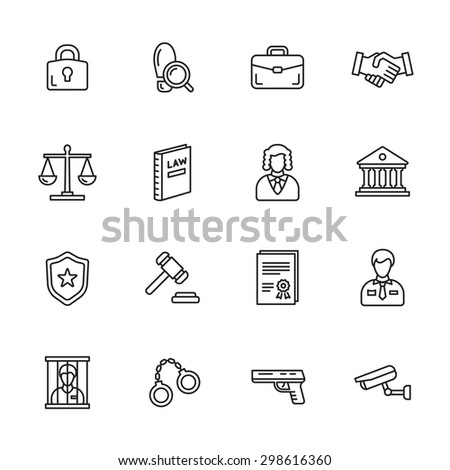 Law thin line icons - stock vector