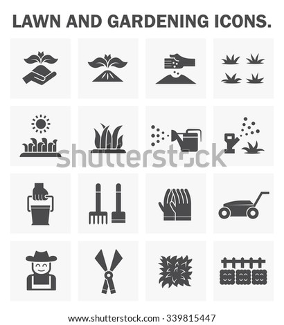 Lawn and gardening icons sets.