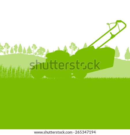 Lawn mover cutting grass vector background ecology concept - stock vector