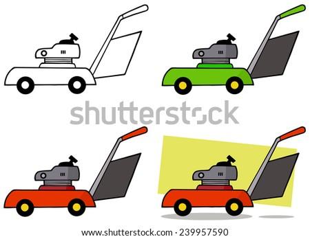 Lawn Mower. Vector Collection Set - stock vector