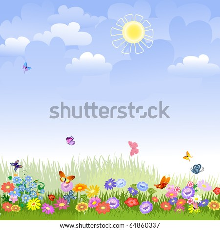 Lawn on a sunny day - stock vector