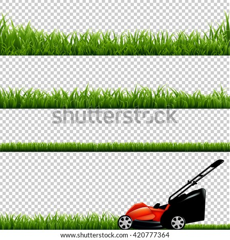 Lawnmower With Green Grass, Isolated on Transparent Background, With Gradient Mesh, Vector Illustration - stock vector