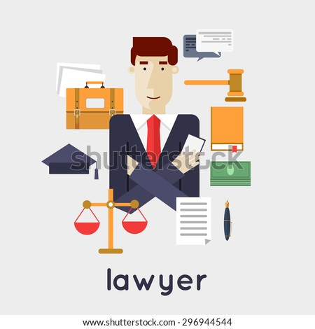 Lawyer, attorney, jurist law, jurisprudence, law and order. Flat style vector illustration. - stock vector