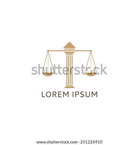 Lawyer logo with Greece column - stock vector