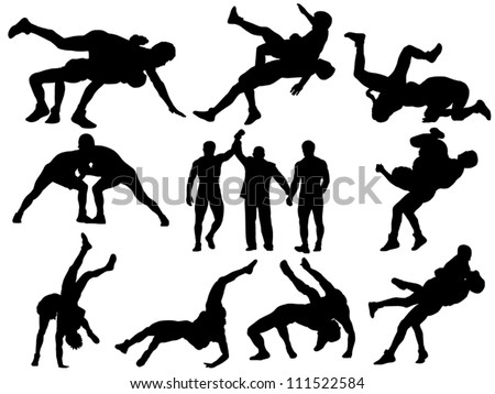 Layered and fully editable wrestling vector silhouettes. This could stand for greco-roman, freestyle, collegiate, scholastic, amateur wrestling or MMA. - stock vector