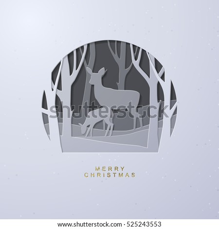 Layered cut out paper Christmas postcard with Winter Forest, Mother Deer and Fawn.