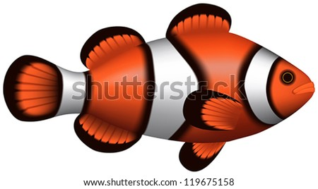 Layered illustration of isolated Clownfish with white background.