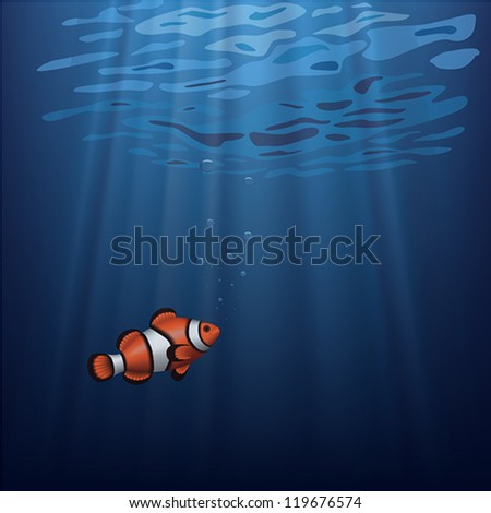 Layered vector illustration of a clownfish under water with sunbeam. - stock vector