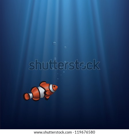 Layered vector illustration of a clownfish under water with sunbeam.