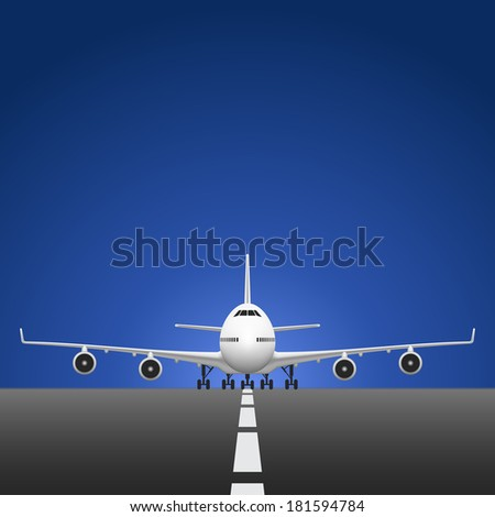 Layered vector illustration of Airplane on Runway. - stock vector