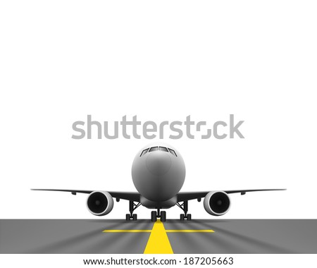 Layered vector illustration of Airplane with Perspective view.