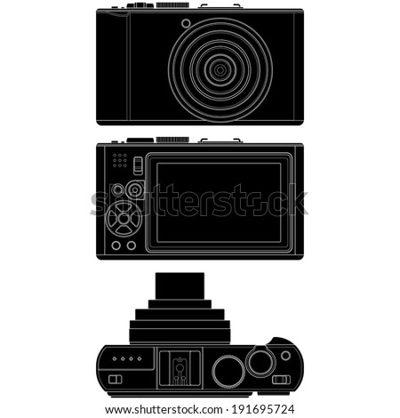 Layered vector illustration of Camera silhouette with white background. - stock vector