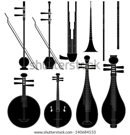 Layered vector illustration of collected Chinese Music Instruments.