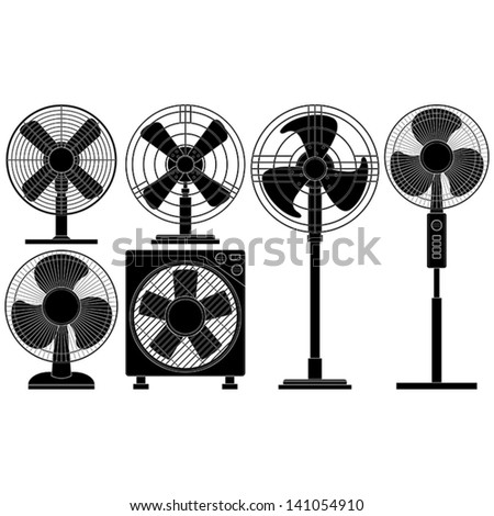 Layered vector illustration of collected Electric Fans. - stock vector