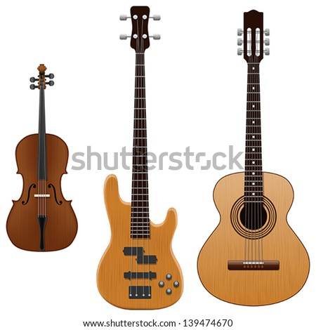 Layered vector illustration of collected String Instruments. - stock vector