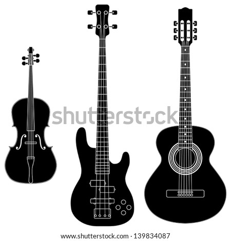 Layered vector illustration of collected String Instruments Silhouette.