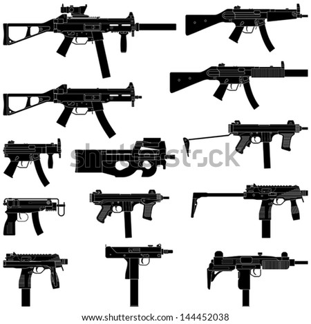 Layered vector illustration of collected Submachine Guns. - stock vector