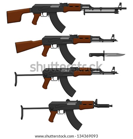 Layered vector illustration of different Assault rifles.