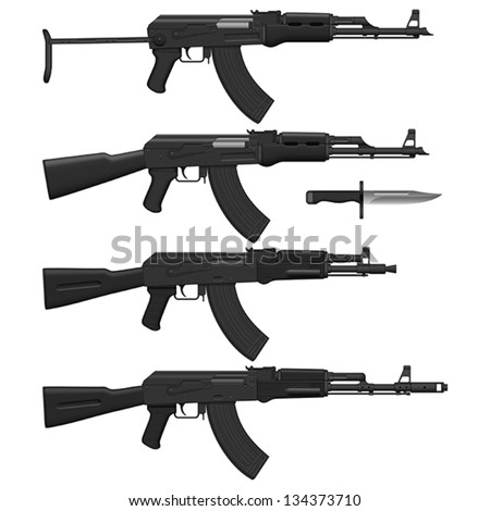 Layered vector illustration of different Assault rifles. - stock vector