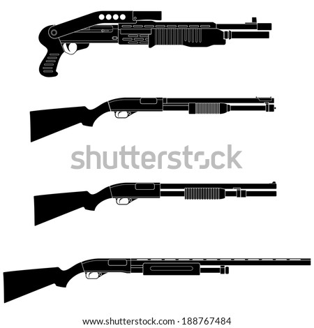 Layered vector illustration of different Shotguns.