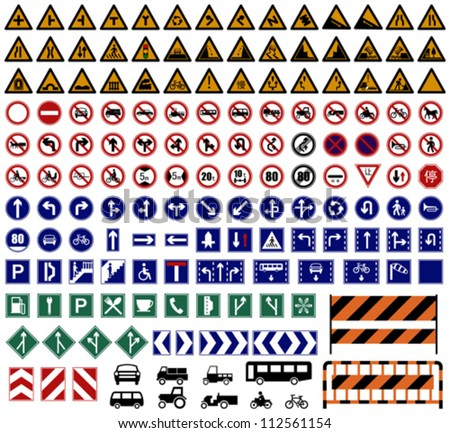 Layered Vector Illustration Of Hundreds Traffic Sign Collections.