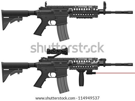 Layered Vector Illustration Of Machine Gun.