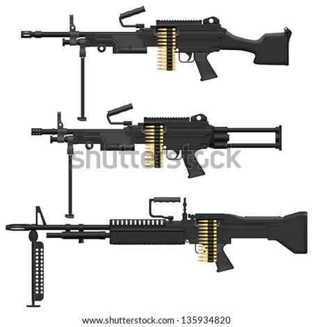 Layered vector illustration of Machine Gun. - stock vector