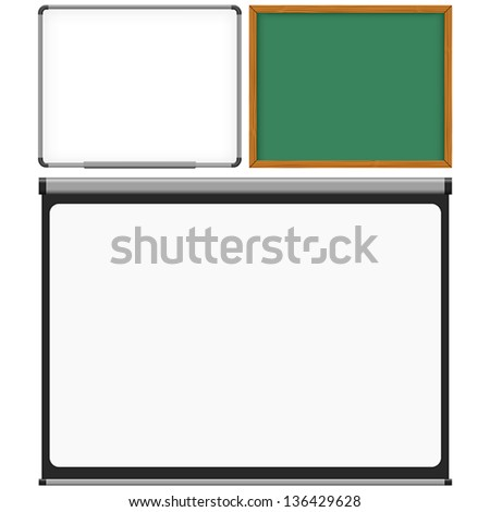Layered vector illustration of Mark Board, Chalk Board and Projector Screen. - stock vector