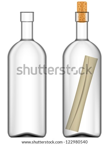 Layered vector illustration of Message in bottle. - stock vector