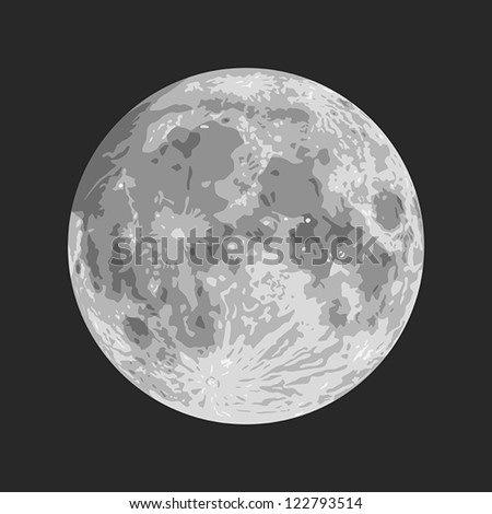 Layered vector illustration of Moon with black background. - stock vector