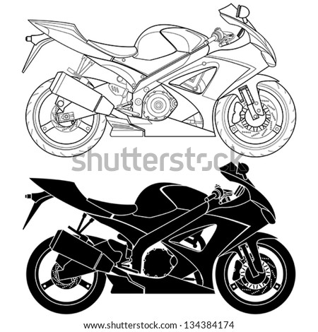 Layered vector illustration of Motorcycle. - stock vector