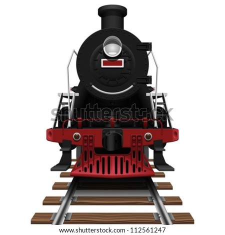 Layered Vector Illustration Of Steam Locomotive.