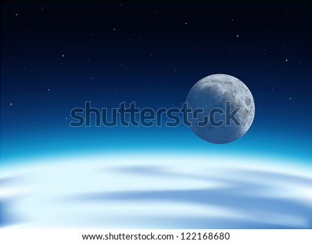 Layered vector illustration of the view of  earth and moon from universe. - stock vector
