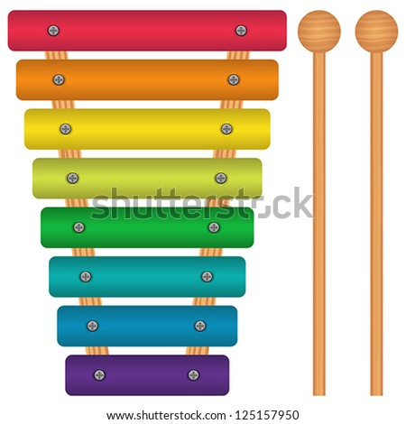 Layered vector illustration of Toy Xylophone. - stock vector