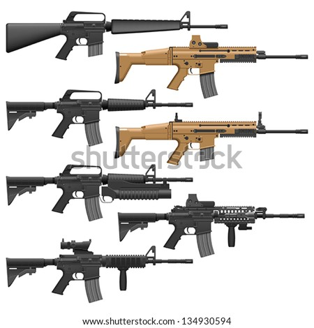 Layered vector illutration of different American Carbines.