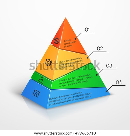 Pyramid Infographic Template Business Presentation Vector Stock