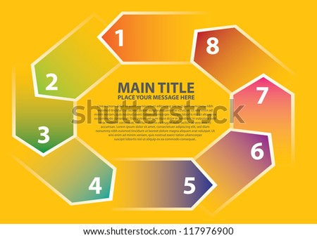 Layout design for progress circle with different colors and numbers. Vector illustration.