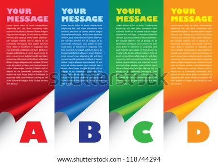 Layout design of fold paper with colors and area for text. Vector illustration. - stock vector